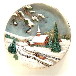 "Vintage 10"" Ceramic Christmas Plate Country Church"